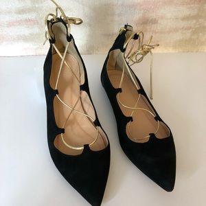 Zara Black Velvet and Gold Criss Cross Tie Shoes